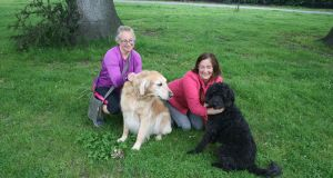 Amanda Hutchinson from Rathfarnham with her dog, Vance, and Wendy Mantle from Knocklyon with her dog, Brooke, in Bushy Park, Terenure, Dublin.