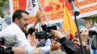 Italy's deputy prime minister, Matteo Salvini, greets supporters during a major rally of European nationalist and far-right parties. Photograph: Alessandro Garofalo/File Photo/Reuters