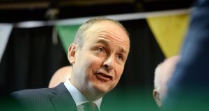 Fianna Fáil leader Micheál Martin became very angry as he accused Taoiseach Leo Varadkar of being 'less than transparent' about the participants in the sole remaining bid for national broadband. File photograph: Eric Luke/The Irish Times