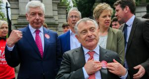 Labour Party leader Brendan Howlin during the final Labour press event of the election campaign. Photograph: Gareth Chaney/Collins