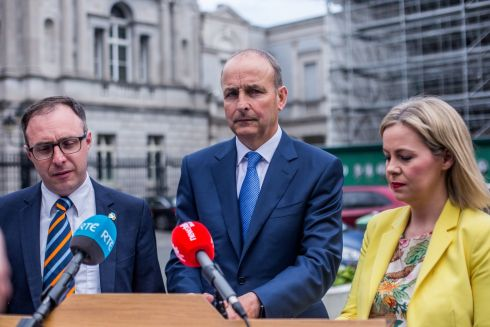 OPPOSING VIEW: Fianna Fail members Robert Troy TD, party leader Micheal Martin and Senator Lorraine Clifford-Lee address the media at a party press conference ahead of the local and European elections, outside Government Buildings in Dublin. Photograph: James Forde