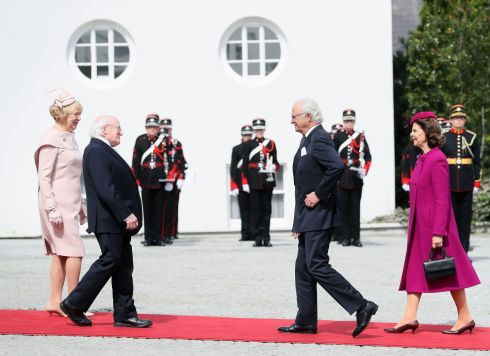 STATE VISIT: King Carl XVI Gustaf of Sweden, with Queen Silvia, are welcomed by President Michael D Higgins and his wife Sabina Coyne at Aras an Uachtarain in Dublin during the Swedish royal pair's state visit to Ireland. Photograph: Brian Lawless/PA Wire