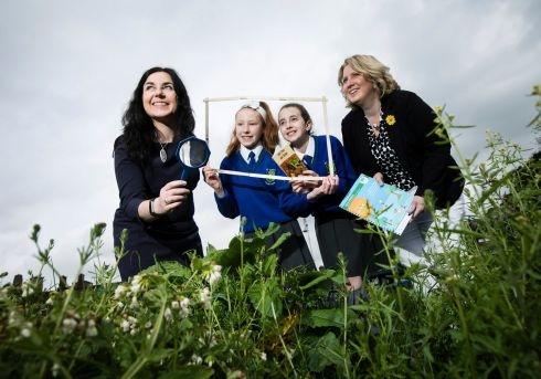 PARK LIFE: Launching Nature in the Park, a self-guided handbook for primary school teachers, are Elaine Nevin, director of Eco-Unesco, and Maryann Harris, senior executive parks superintendent, Dublin City Council, with Hayden Power (11) and Ava Dunne (11) from St Mary's National School, Fairview. Photograph: Chris Bellew/Fennell Photography