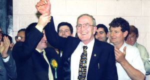 The late Michael Lynch celebrating an election with supporters. Photograph: Paul McCabe/Meath Chronicle