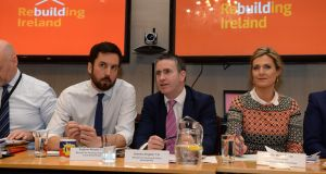 Minister for Housing Eoghan Murphy during a housing summit in the Custom House with Minister of State Damien English and Chair of the Joint Oireachtas Committee Maria Bailey. Photograph: Dara Mac Dónaill