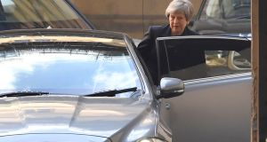 UK prime minister Theresa May leaves the Houses of Parliament in London. Photograph: Toby Melville/Reuters