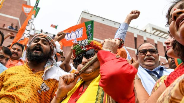 BJP supporters celebrate the vote results day for India's general election in New Delhi on May 23rd, 2019. Photograph: Sajjad Hussain/AFP/Getty Images