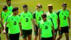 Kevin Long, John Egan, Luca Connell, Callum Robinson and Seamus Coleman during an Ireland training session this week in Portugal. Photograph: Ryan Byrne/Inpho
