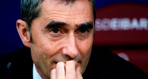 Ernesto Valverde is aiming to complete another double with Catalan club Barcelona this season. Photograph: Getty Images