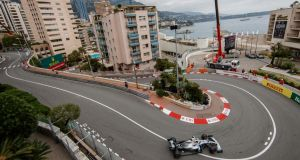 Lewis Hamilton in action during the first practice session of the Monaco Grand Prix. Photograph: Valdrin Xhemaj/EPA