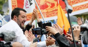 Italy's deputy prime minister and League party leader Matteo Salvini greets supporters during a rally of European nationalist and far-right parties in Milan last Sunday. Photograph: Alessandro Garofalo/Reuters