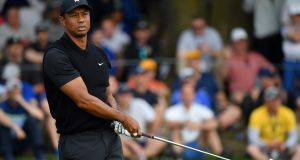 Tiger Woods  plays his tee shot from the 17th  during the second round of the US PGA Championship at  Bethpage Black  in Farmingdale, New York. Photograph: Stuart Franklin/Getty Images