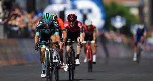 Ireland's Eddie Dunbar comes home third behind the Italian duo of Cesare Benedetti and Damiano Caruso on stage 12 of the Giro d'Italia  from Cuneo to Pinerolo. Photograph: Justin Setterfield/Getty Images