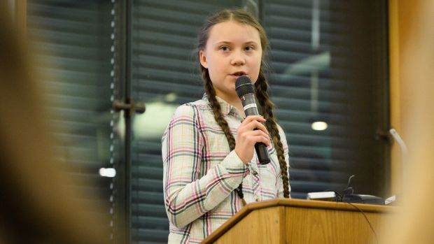 Swedish environmental campaigner Greta Thunberg at London's Houses of Parliament in April. Photograph: Leon Neal/Getty
