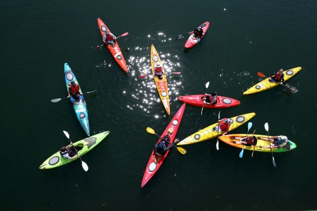 Kayakers in Galway harbour as part of SeaFest 2018. Photograph: Jason Clarke