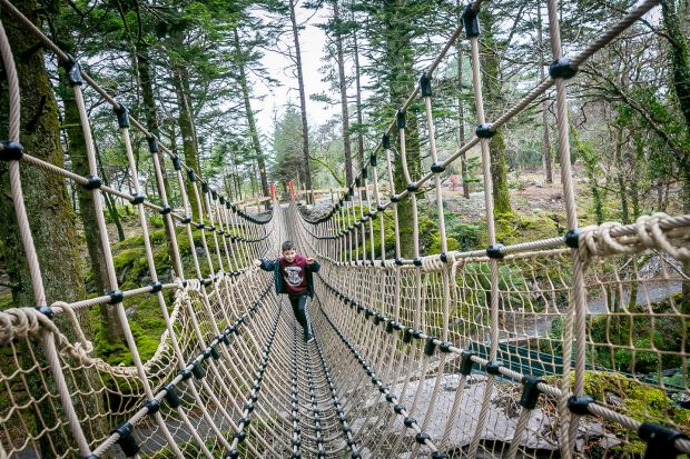 Look down on the River Delligeenagh from Ireland's longest rope bridge.