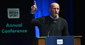Former Welsh rugby player Gareth Thomas pictured at the Federation of Irish Sport Annual Conference at The Helix in Dublin City University. Photograph: Matt Browne/Sportsfile