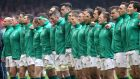 The Ireland team before their Six Nations defeat to Wales at Principality Stadium, Cardiff. Photograph: Bryan Keane/Inpho