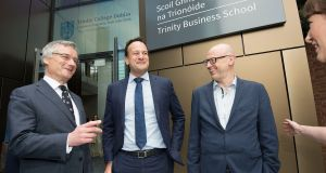 Taoiseach Leo Varadkar with TCD Provost Dr Patrick Prendergast (left), and Dean Prof Andrew Burke at the opening of Trinity Business School at TCD on Thursday. Photograph: Dave Meehan/The   Irish Times
