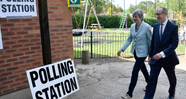 British  prime minster Theresa May and  husband Phillip  casting their vote in  the European elections in her Maidenhead constituency. Photograph:  EPA/Neil Hall
