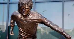 The newly unveiled statue of George  Best outside Winsdor Park in Belfast has drawn criticism from fans. Photograph:   Liam McBurney/PA Wire