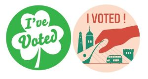 Two of the sticker designs to be used at Dublin polling stations on Friday as part of the 'I've Voted' initiative.