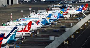 An aerial photo shows several Boeing 737 MAX airplanes grounded at Boeing Field in Seattle, Washington.