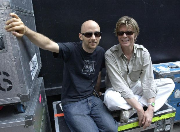Moby and David Bowie: neighbours. Photograph: Kevin Mazur/WireImage/Getty