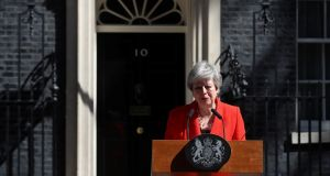 British prime minister Theresa May reacts as she delivers a statement in London, Britain, May 24th, 2019. Photograph: Simon Dawson