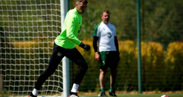 Republic of Ireland goalkeeper Mark Travers during a training camp in Portugal. Photograph: Ryan Byrne/Inpho