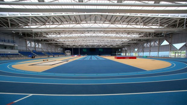 The indoor athletics track. Photograph: Crispin Rodwell