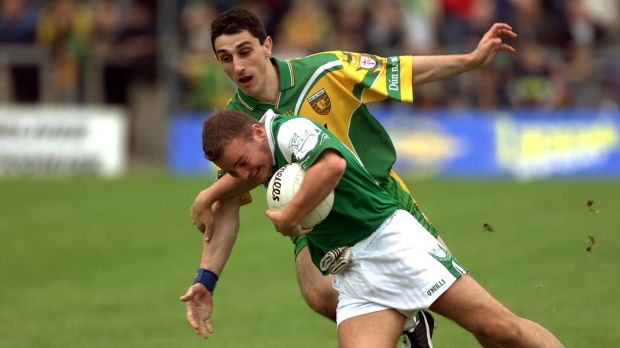 Shane King of Fermanagh in action against Donegal's Paddy Campbell during the Ulster SFC preliminary round replay clash of 2001. Photograph: Andrew Paton/Inpho