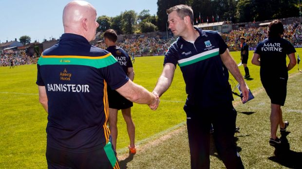Donegal manager Declan Bonner shakes hands with Fermanagh's Rory Gallagher following last years's Ulster final at Clones. Photograph: James Crombie/Inpho