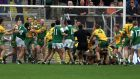 A melee breaks out during the All-Ireland qualifier clash between  Fermanagh and  Donegal in June 2001. Donegal avenged an earlier defeat in the Ulster championship with a 0-15 to 1-6 win at Brewster Park. Photograph: Andrew Paton/Inpho
