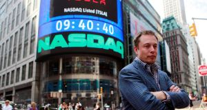 Tesla chief executive Elon Musk after his company's initial public offering at the Nasdaq market in New York, 2010. Photograph: Brendan McDermid/File Photo/Reuters