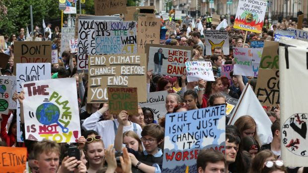 Image from the climate protest on Friday, at Merrion Square, Dublin. Photograph: Nick Bradshaw/The Irish Times