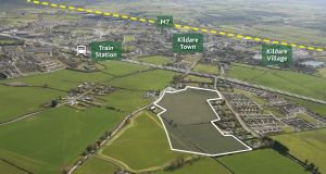 An aerial view of the subject site. The land is just 600m from the train station in Kildare town.
