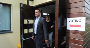 Taoiseach Leo Varadkar  after voting in Scoil Thomais in Castleknock, Dublin. His Fine Gael party is hoping to make gains in the local elections, although party figures do not expect it to overtake Fianna Fáil as the largest party in local government. Photograph: Aidan Crawley