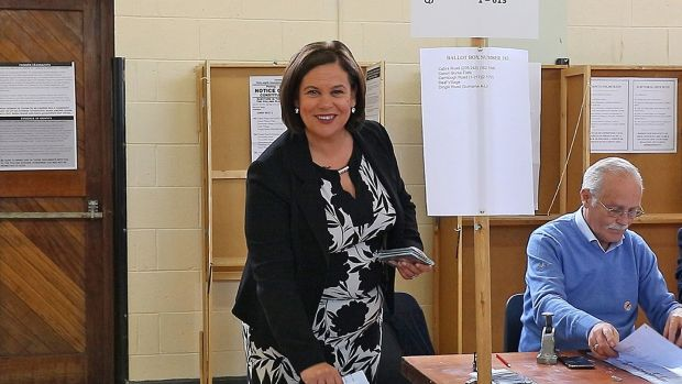 Sinn Féin leader Mary Lou McDonald casting her vote at St Joseph's School, Navan Road, Dublin. Her party will watch the share of first-preference votes as much as the number of city and county councillors elected. Photograph: PA Wire
