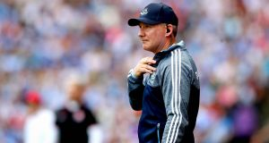 Dublin manager Jim Gavin. His  calmness and measured tone has been a vital bulwark against hysteria and getting-ahead-of-oneself. But he is still only one man and one voice in a big city. Photograph: Ryan Byrne/Inpho