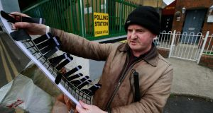 Robbie Sinnott at his polling station in Dublin 8. Photograph: Nick Bradshaw/The Irish Times