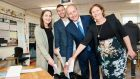 Fianna Fáil party leader Micheál Martin TD  voting in Ballinlough, Cork with his family Mary, daughter Aoibhe and son Micheal. Photograph:  Daragh Mc Sweeney/Provision
