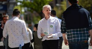 Green Party candidate Ciarán Cuffe canvasses for the European elections on Baggot Street Bridge, Dublin. Photograph: Dara Mac Dónaill/The Irish Times