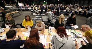 Ballots are counted in the European Parliamentary elections in Dublin. Photograph: Niall Carson/PA Wire