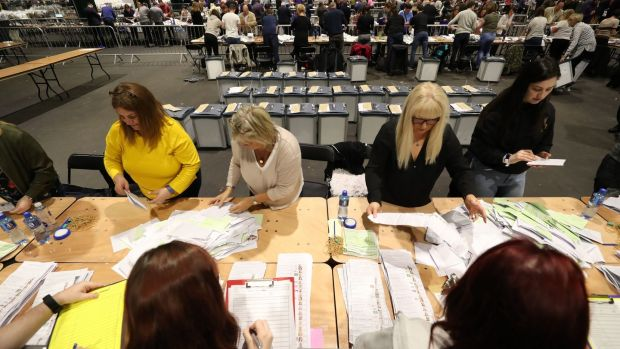 Ballots are counted in the European Parliamentary elections and the referendum on divorce at the RDS in Dublin. Photograph: PA