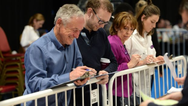 Minister for the Environment Richard Bruton and Social Democrats TD Roisin Shortall at the North Dublin count centre in the RDS in Dublin.Photograph: Dara Mac Dónaill/The Irish Times