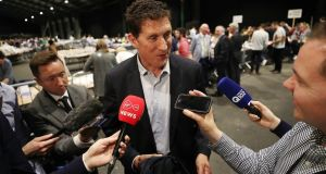 Green Party Leader Eamon Ryan speaks to the media as  counting begins in the Local and European Elections and divorce referendum at the RDS in Dublin. Photograph: PA
