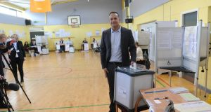 Taoiseach Leo Varadkar voting in Scoil Thomas, Castleknock on Friday. Photograph: Aidan Crawley