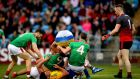 Mayo's Keith Higgins and Conor Cox of Roscommon. Photograph: Ryan Byrne/Inpho