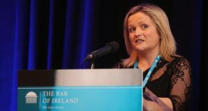 Leona O'Callaghan addresses the Bar Council conference Laws and Effects. Photograph: The Bar of Ireland/Twitter